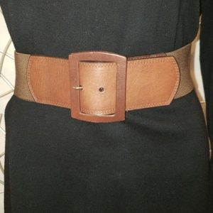 BROWN LEATHER AND FABRIC STRETCH CALVIN KLIEN BELT